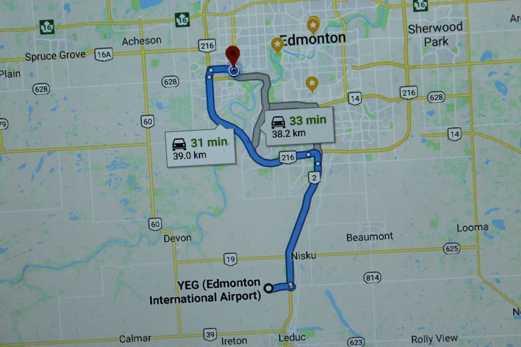 Approximately ~30 mins away from Edmonton International Airport