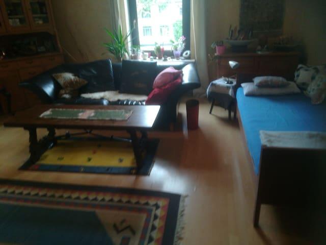 Gemütliches Bett im Wohnzimmer ab 22 Uhr