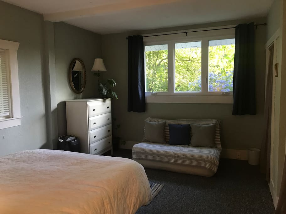 Has a fold out couch, dresser, and double closets