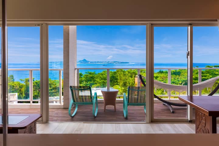 美ら海水族館の隣!270°Paranoma Ocean View Hawaiian house!
