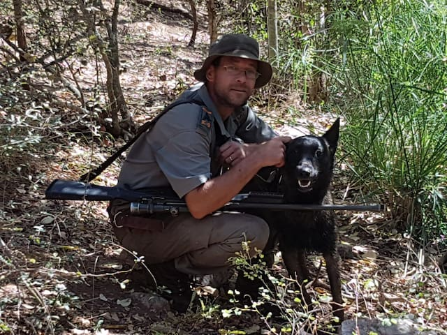 Host with his trusted K9