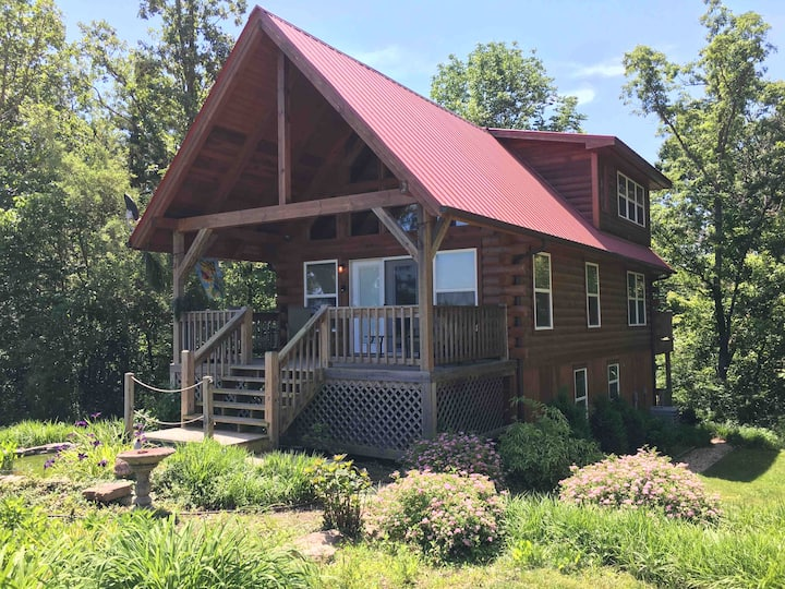 Ellen's Log Cabin with private mineral hot tub