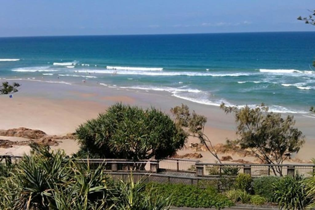 View of Nth Coolum Beach overlooking the boardwalk  only 1 k away from your Air-conditioned Holiday Duplex