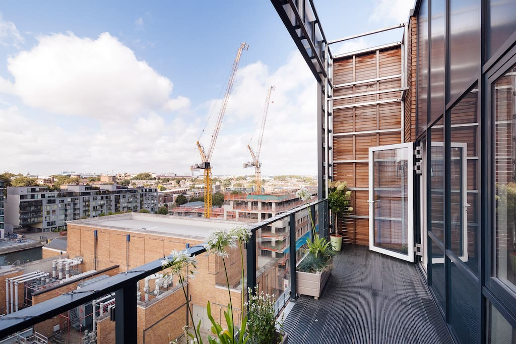 One of the two spacious balconies, overlooking hip and industrial chic City Canal Basin area