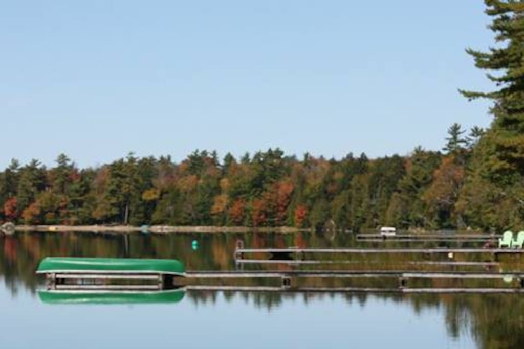 View from our dock on the quiet lake towards the neighbors
