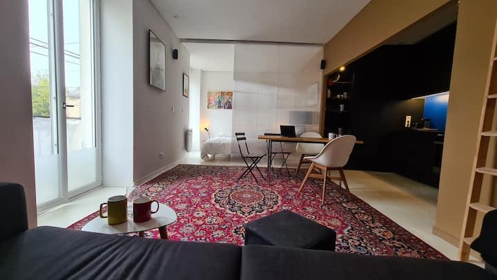 Loft : 1 chambre + 1 lit double en mezzanine