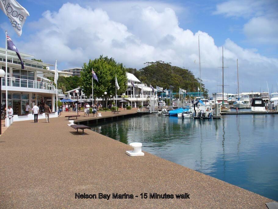 Marina with shops and restaurants, 15 minutes walk