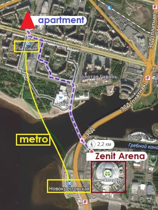 2.2 km walk to Zenit Arena. 1 minute walk to subway station, which gets you to the center of the city in app. 15 minutes and 5 minutes to the games.