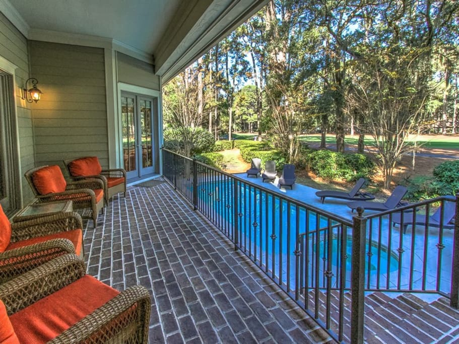 Back Deck Overlooking Pool and Golf Course at 102 Baynard Cove Road