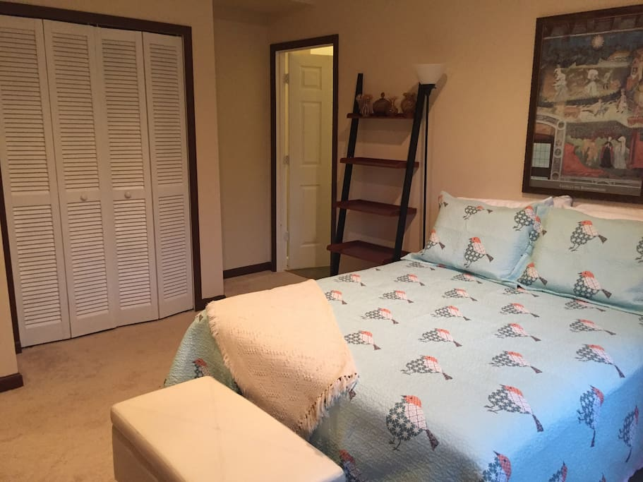 Queen size bed with full closet for your use.