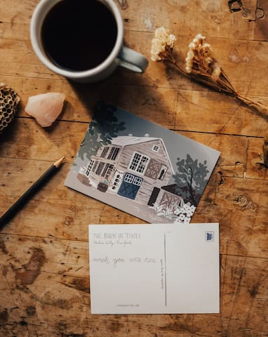 Write someone a post card! We make it easy by offering you posted postcards. A quick walk to town takes you to the cutest post office. Cross the street and treat yourself to a fresh baked croissant or brunch at Murray's.