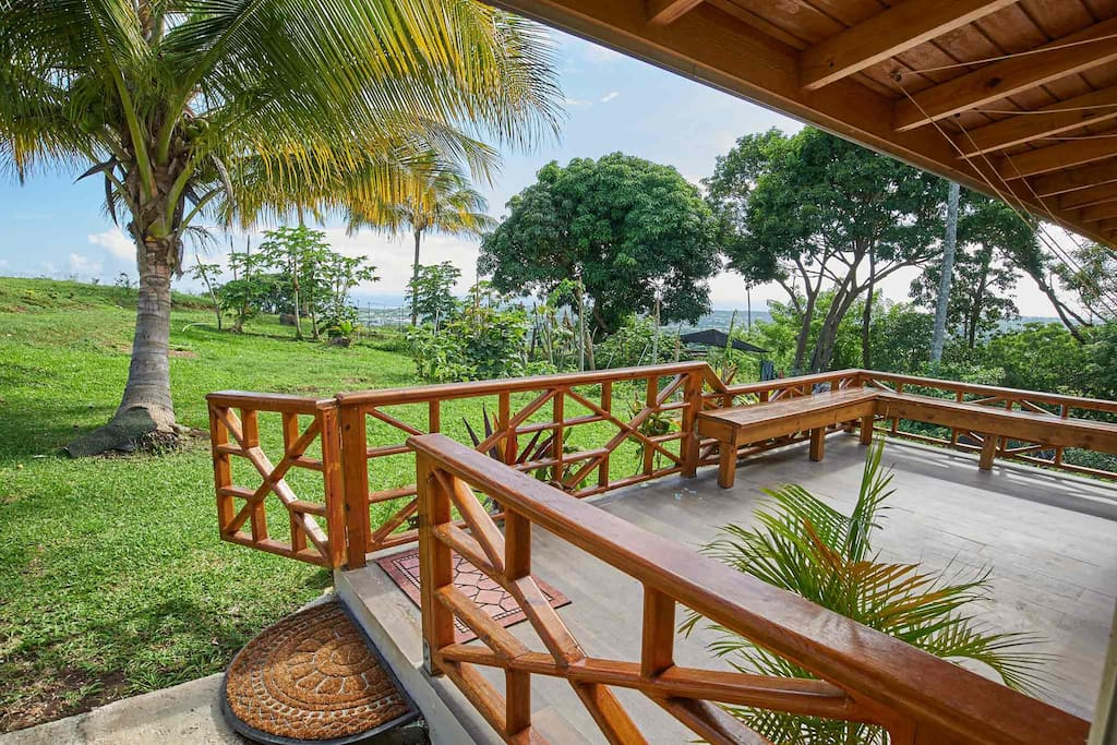 Amazing views of the lush forest & distant Caribbean Sea.