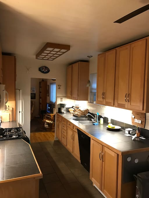 Kitchen is fully supplied with dishes, utensils, pots and pans, etc. Gas stove, microwave, blender, toaster, coffee maker and grinder