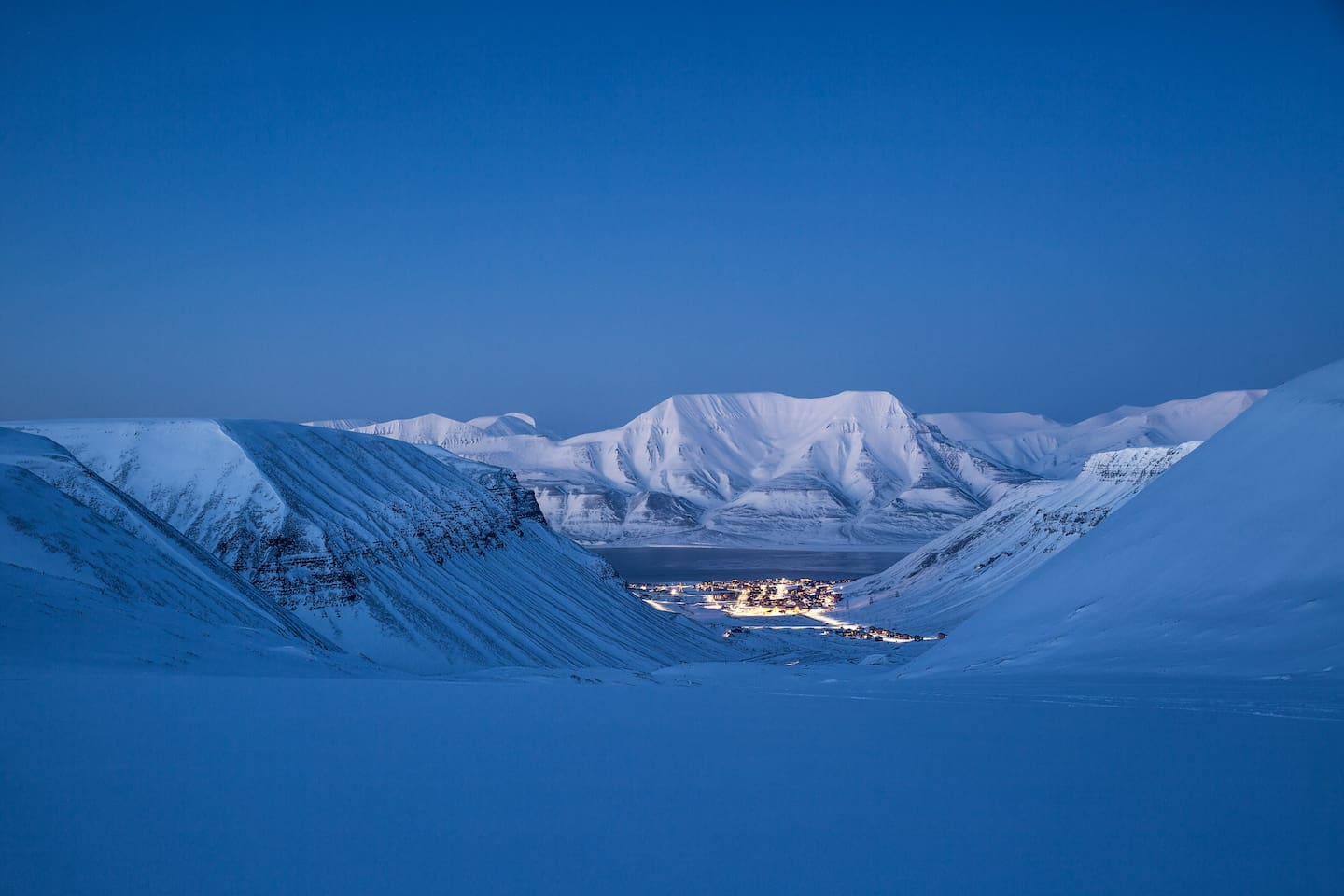 View from the Glacier over Longyearbyen City