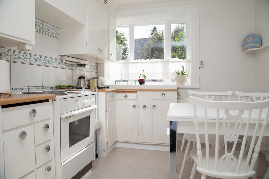 The kitchen is bright, comfortable and has everything you need