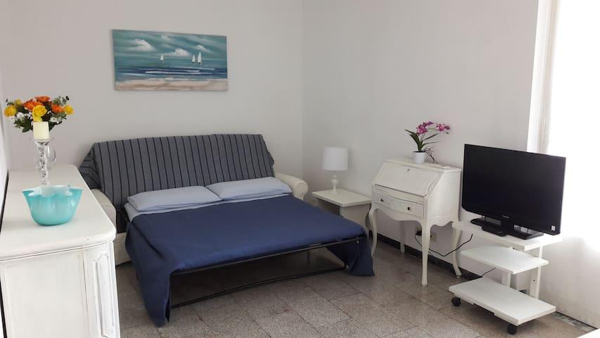 Sala divano letto e tv.