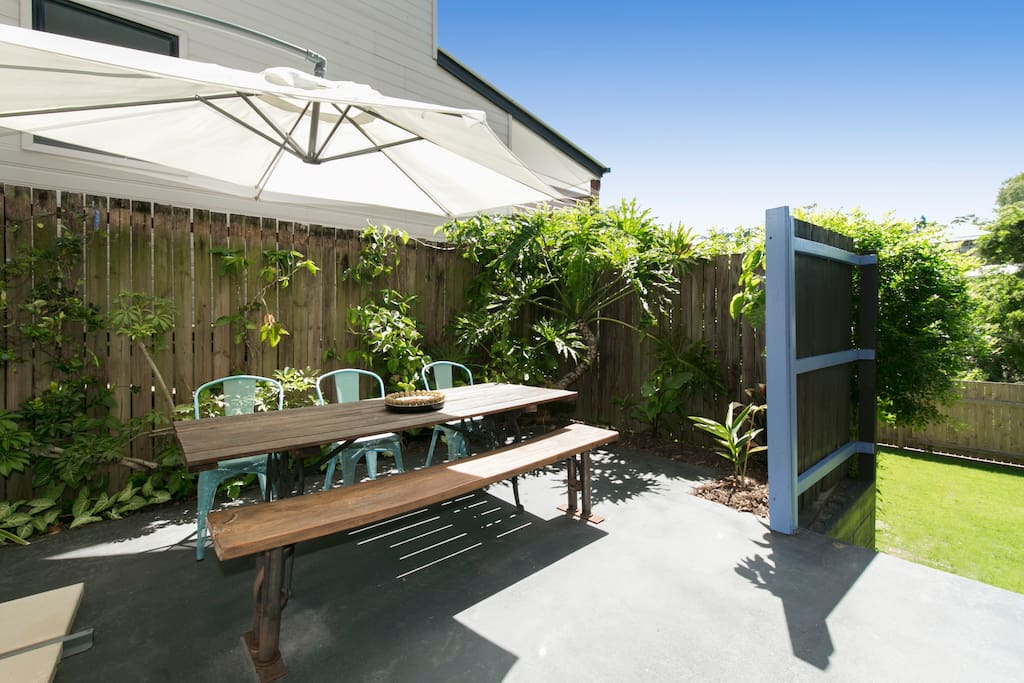 Outdoor area with access to private fenced dog yard.
