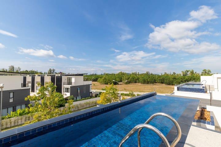 Modern pool villa 5 min walk to the beach