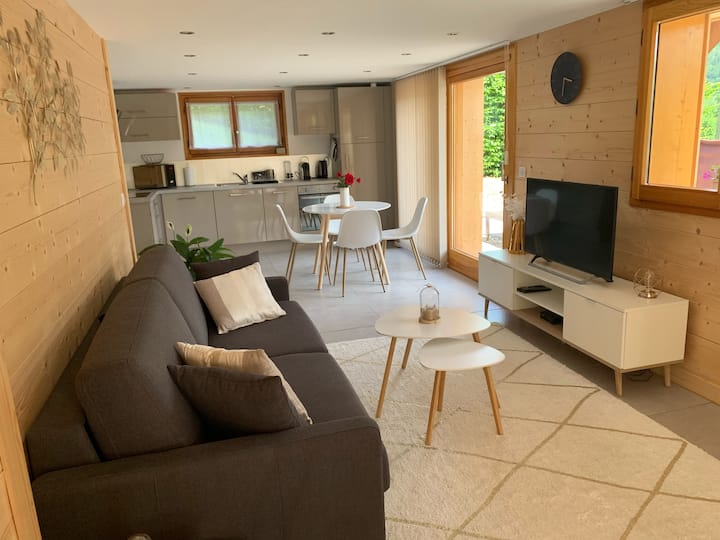 Appartement contemporain dans chalet, pistes à 5km