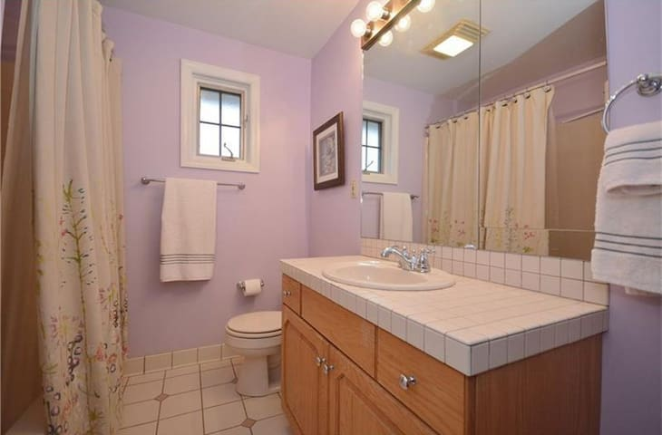 Private Full Bathroom that's in your room. You have a private exterior entrance and the shower is a stall shower :)
