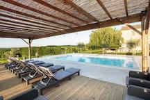 Pool area yoga deck