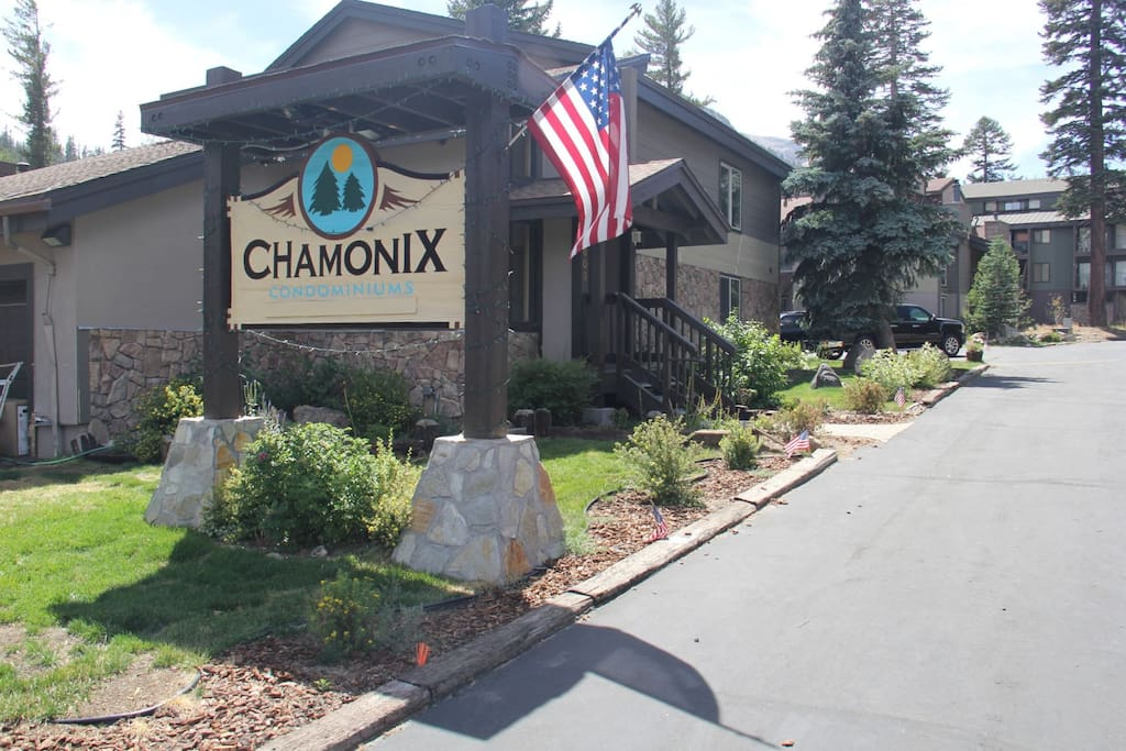 Mammoth Condo Rental Chamonix- Entrance Sign and Office
