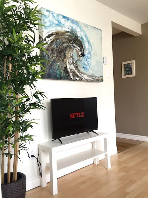 Smart TV and Netflix account available, plus you can access various news, sports, weather and social media apps.