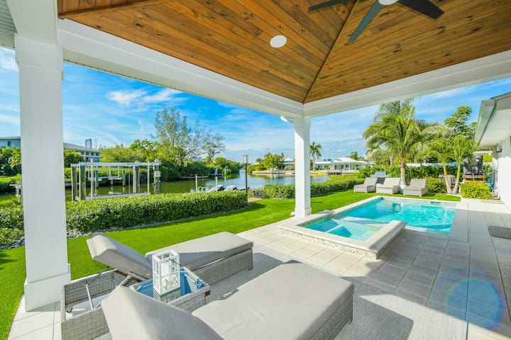 Stunning 4 bedroom canal front home with beautiful backyard pool and spa!