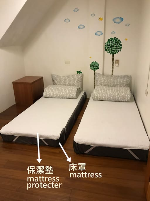 由於有客人誤以為沒有床罩,特以此圖說明。 Since some guests were confused about the mattress, we use this photo to explain.