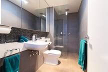 Large walk-in shower, with modern amenities.