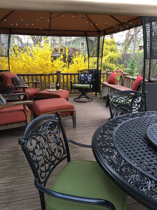 Relax on the private rear deck.