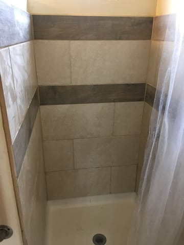 Newly tiled shower!