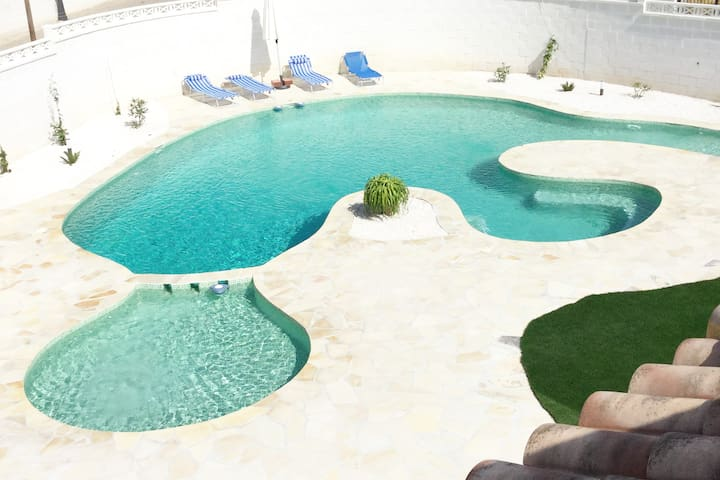 Villa with large designer pool and games room.