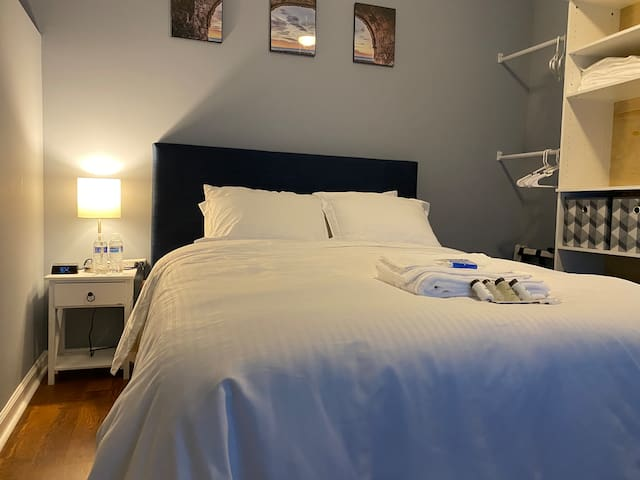 """Bedroom #3 (Ravenclaw) with a Queen size bed, desk for working, 42"""" Roku TV."""