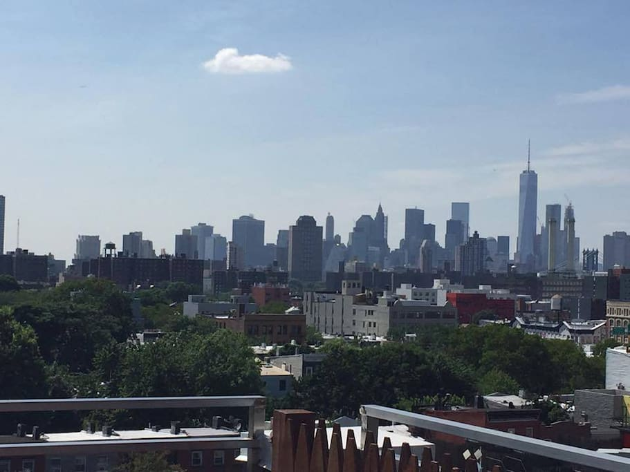 View of Manhattan from our rooftop. We have picnic tables and barbecues.