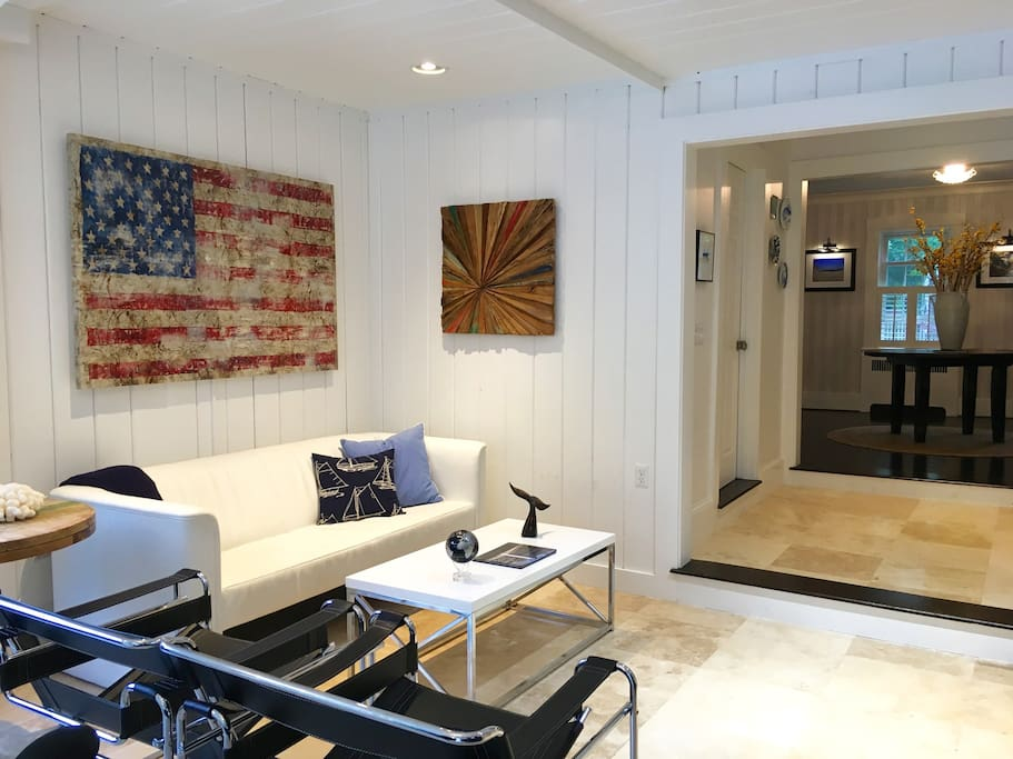 Relax in the Lounge at the Platinum Pebble Boutique Inn