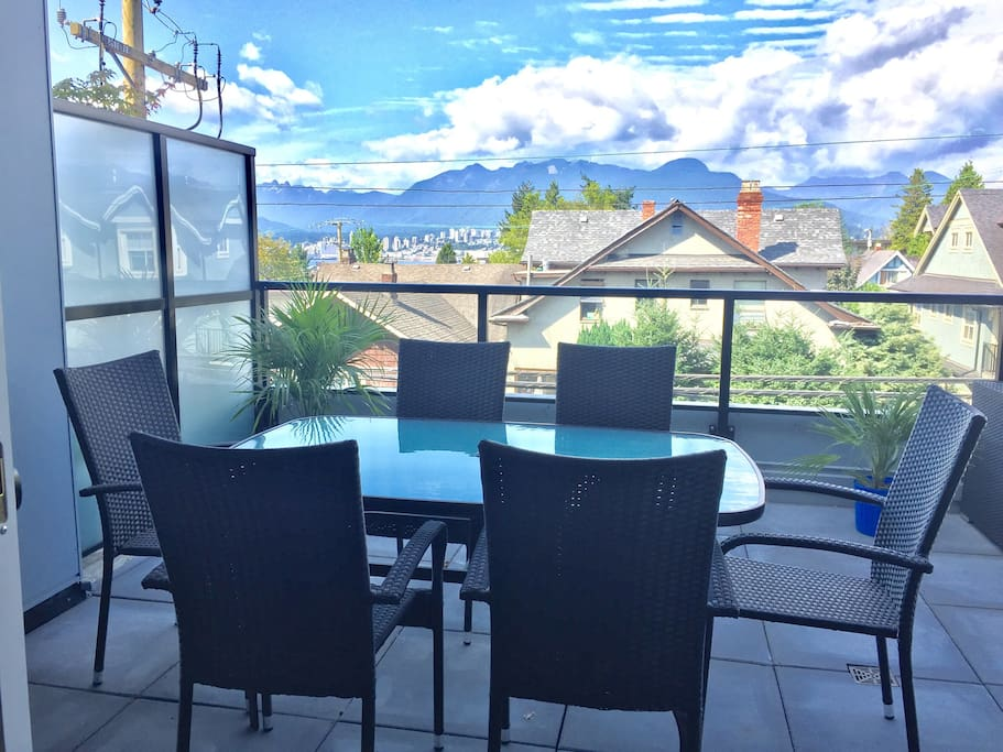 Large scenic patio. View of north shore mountain and downtown. Facing quiet neighbourhood.