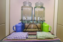 Purified water with big cups.