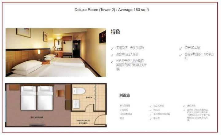 特色  实用简洁,无多余装饰  适合两位成人住宿  WiFi可于资讯柜台购得,其覆盖范围只限酒店大厅