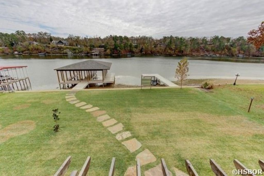 Back yard with boat dock