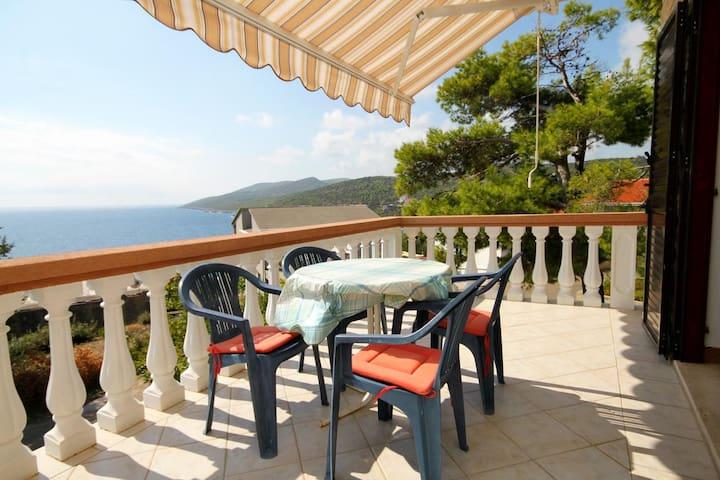 Kétszobás apartman terasszal és kilátással a tengerre Zavalatica (Korcula) (A-4453-b)