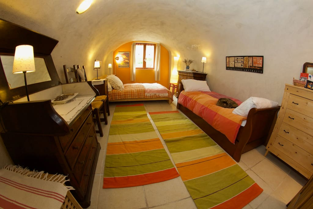 cosy sleeping under vaulted ceiling