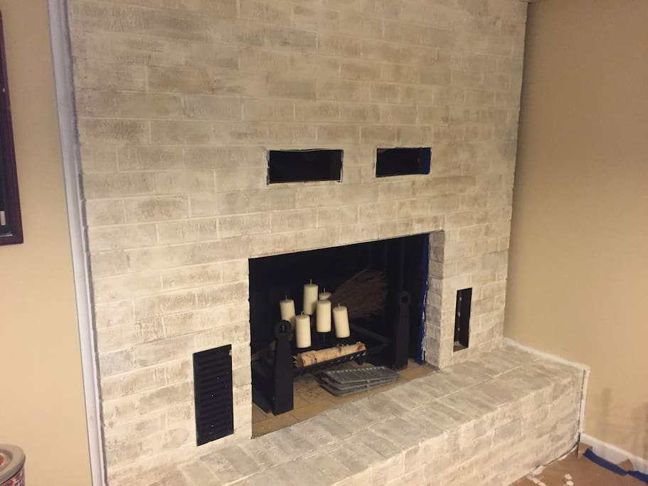 Fireplace in basement game room