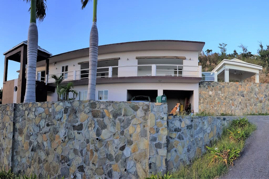 Front view amazing hillside villa with stunning views of Philipsburg and surrounding islands