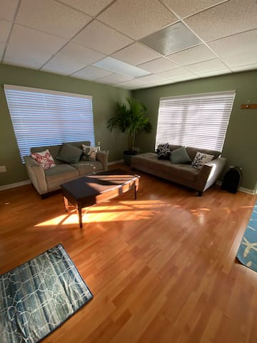 Salon area with 2 comfy couches