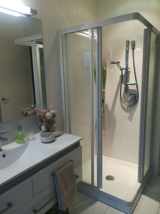 Private bathroom with bath and shower, separate private toilet.