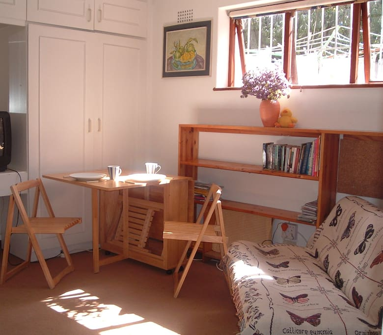 an expandible breakfast nook or work area.  sleeper sofa.  all can be folded away.