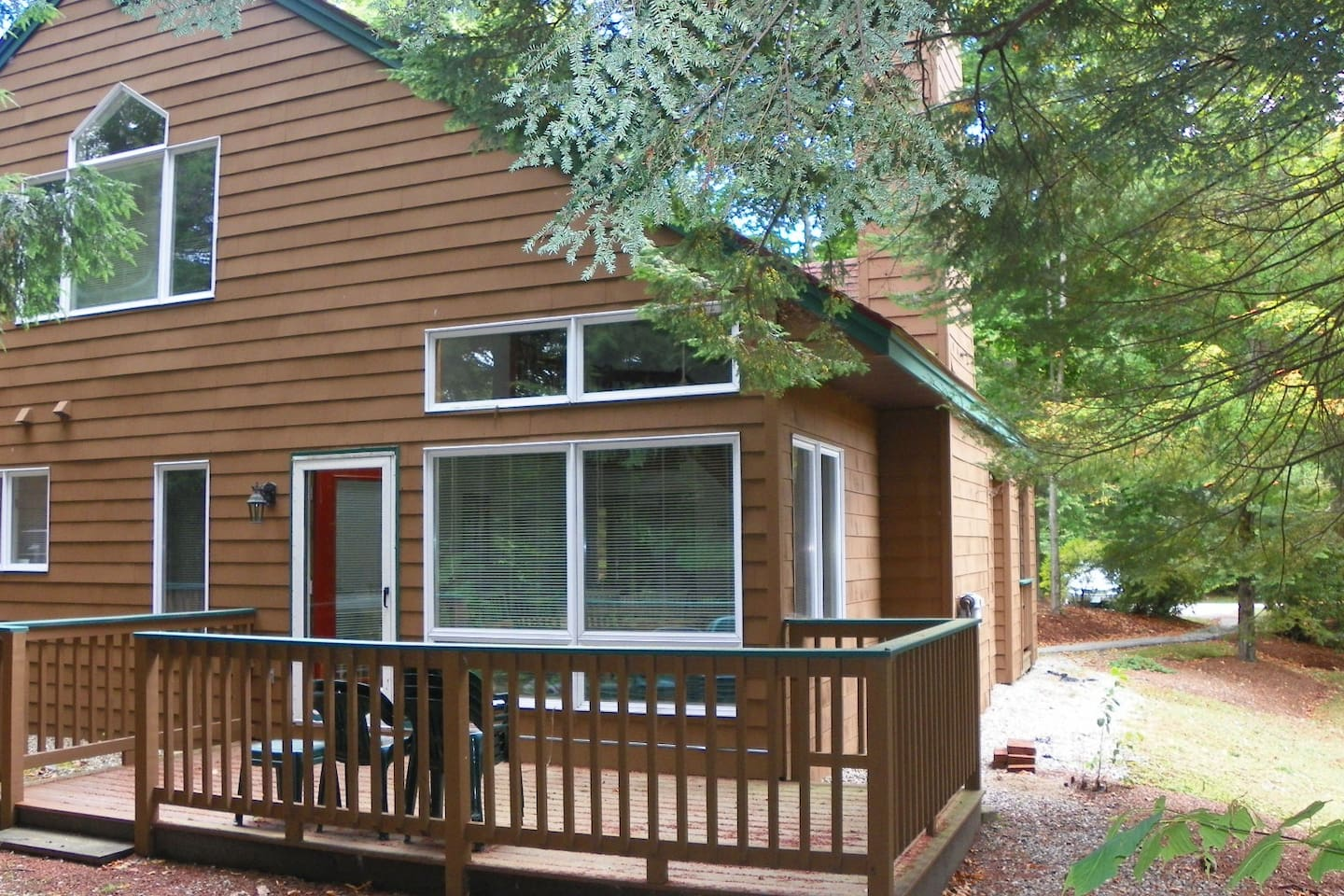 Deck at this Deer Park Vacation Condo with free shuttle to Loon