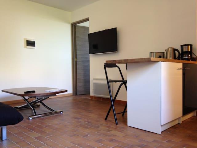 Pour 2 ou 3 personnes, 1 chambre , 1 canapé-lit dans le salon, salle de bain-WC traversante de la chambre