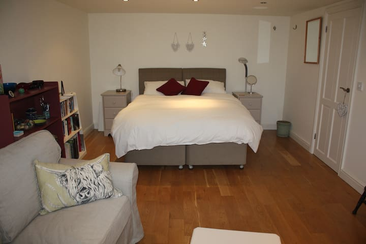 The bedroom, cosy, minimal and warm when needed!